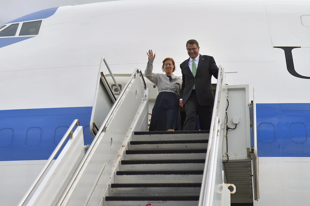Secretary of Defense Ash Carter and his wife, Stephanie, arrive in Honolulu, Hawaii, May 26, 2015, as Carter begins his second Asia-Pacific trip since taking office earlier this year. While in Hawaii, Carter will attend the PACOM change of command ceremony Wednesday. (DoD photo by Glenn Fawcett/Released)