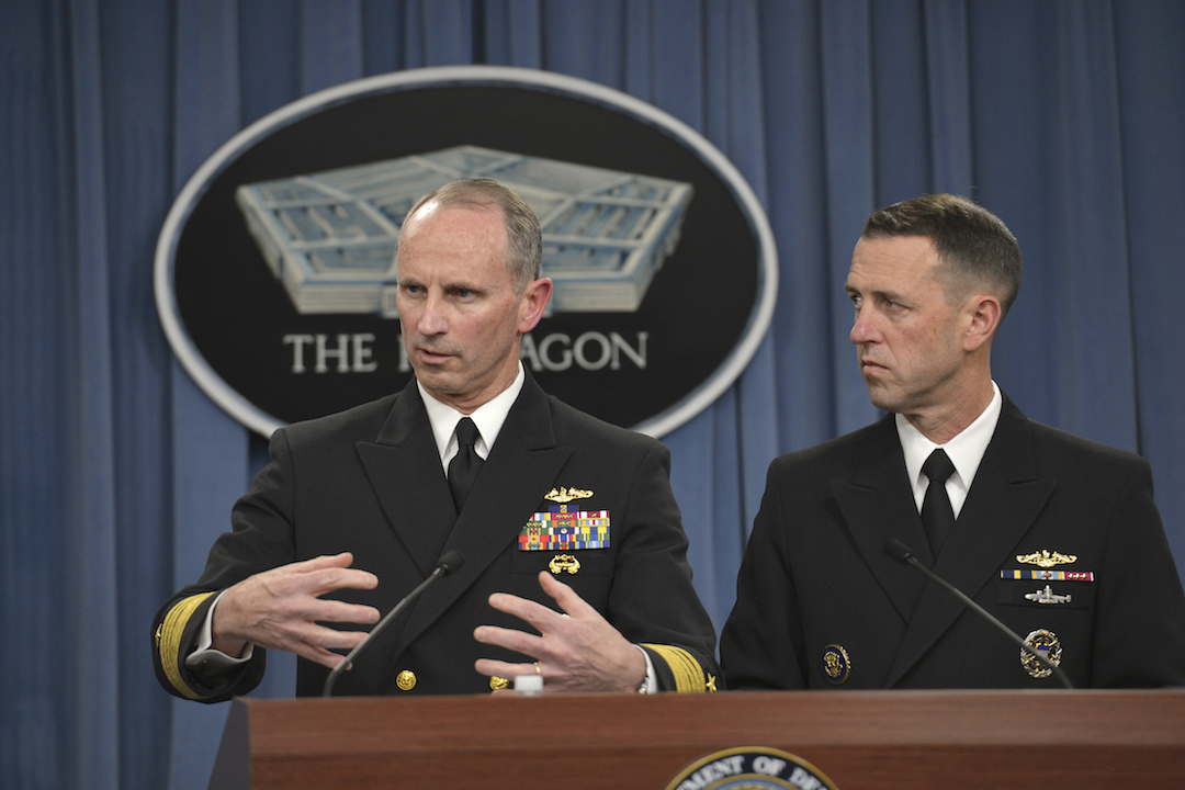 Chief of Naval Operations Navy Adm. Jonathan Greenert and Navy Adm. John Richardson, director of the Naval Nuclear Propulsion Program, brief Pentagon reporters on the Navy's investigation into allegations of compromised test materials.  DoD Photo by Glenn Fawcett (Released)