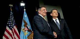 Secretary of Defense Leon E. Panetta and Secretary of Veterans Affairs Eric K. Shinseki address the media after meeting at Department of Veterans Affairs, Feb. 4, 2013. The secretaries announced that the Departments of Defense and Veterans Affairs will accelerate the speed which service members will be able to seamlessly transfer their electronic health care records from DoD to VA.  This decisions to use existing technology will enable record portability buy 2014 instead of 2017.(DOD photo by U.S. Navy Petty Officer 1st Class Chad J. McNeeley)