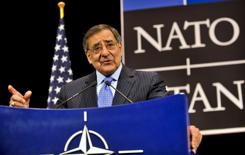 Secretary of Defense Leon E. Panetta holds a press conference after participating in two days of meetings with defense leader counterparts from other NATO member nations at NATO headquarters in Brussels, Belgium, Feb. 22, 2013. (DoD Photo By Glenn Fawcett) (Released)