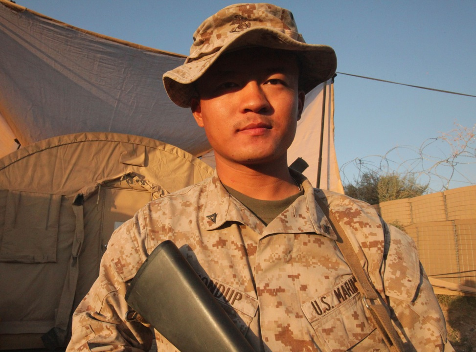 Lance Cpl. Tashi Dhondup, a supply warehouseman with 2nd Battalion, 7th Marines, Regimental Combat Team 6, left his home of Lhasa, Tibet, and moved to northern India to practice his religion. Now, Dhondup serves as a Marine and received his U.S. citizenship earlier this year.