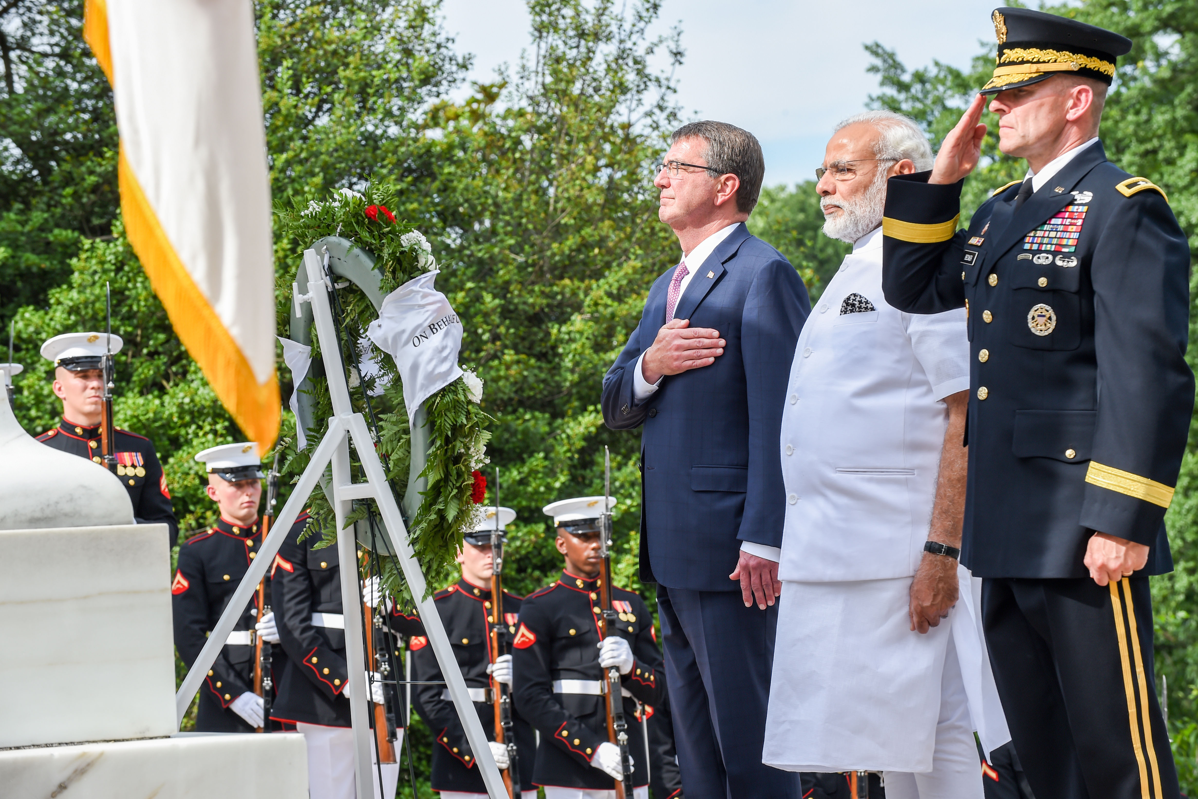 Secretary of Defense Ash Carter takes part in a wreath-laying ceremony with India Prime Minister Narendra Modi at Arlington National Cemetery, Virginia June 6, 2016.(DoD photo by U.S. Army Sgt. First Class Clydell Kinchen)(Released)
