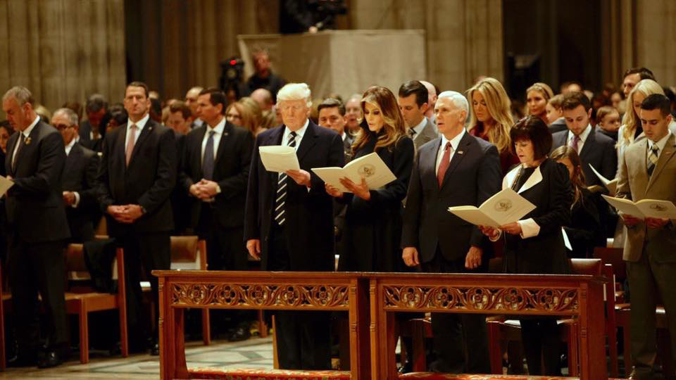 Presideent Donald Trump with his family and nominees at the National Prayer