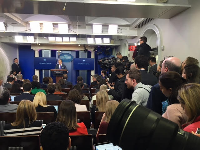 Overflowing Brady Press Room White House