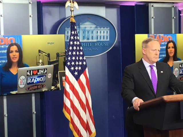Sean Spicer with Skype journalist