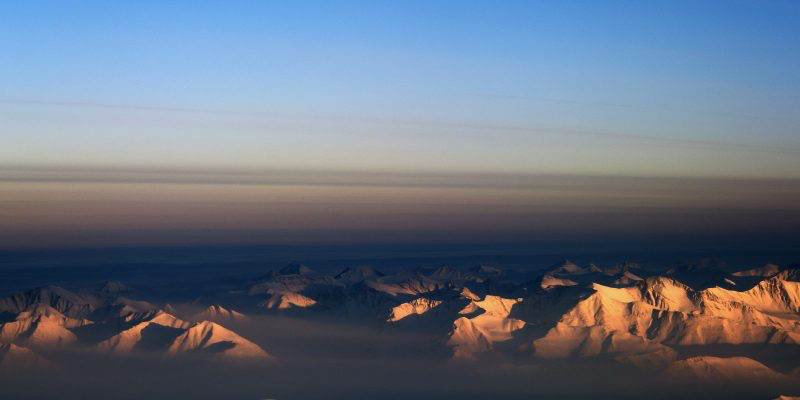 Morning over north-east Greenland- Varying rates of sunlight influence ice ages. Image- NASA (Back to the Arctic) via Wikimedia Commons