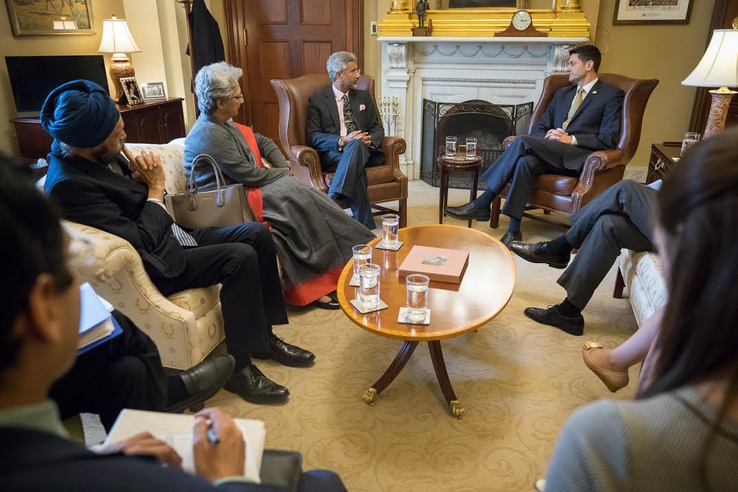 Paul Ryan w:FS Jaishankar sitting