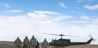 At F.E. Warren base, Air Force Gen. John E. Hyten with others
