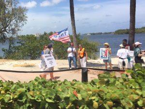 Demonstrators marching toward Mar-a-Lago 04:15 in Palm Beach, FL !