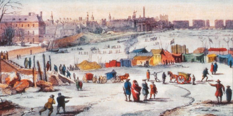 Detail of Thomas Wyke's painting of a Thames Frost Fair in the winter of 1683:84. Image- Wikimedia Commons