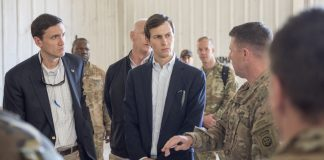 Marine Corps Gen. Joseph F. Dunford Jr., chairman of the Joint Chiefs of Staff, Jared Kushner, Senior Advisor to President Donald J. Trump,Tom Bossert, the president's homeland security advisor, and Douglas A. Silliman, U.S. Ambassador to the Republic of Iraq, and Lt. Gen. Stephen J. Townsend, commander, Combined Joint Task Force – Operation Inherent Resolve, meet with Service Members at a forward operating base near Qayyarah West in Iraq, April 4, 2017. DoD Photo by Navy Petty Officer 2nd Class Dominique A. Pineiro