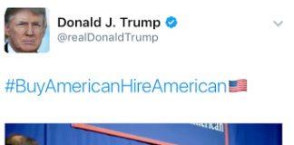 Trump Tweet pic on Hire American