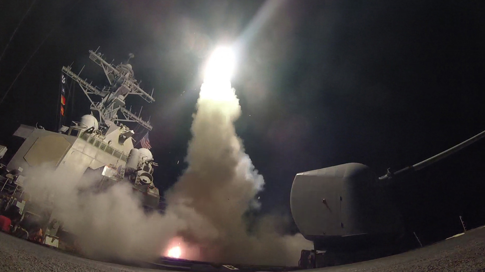 The guided-missile destroyer USS Porter (DDG 78) conducts strike operations while in the Mediterranean Sea, April 7, 2017. Porter, forward-deployed to Rota, Spain, is conducting naval operations in the U.S. 6th Fleet area of operations in support of U.S. national security interests in Europe. (U.S. Navy photo by Mass Communication Specialist 3rd Class Ford Williams/Released)