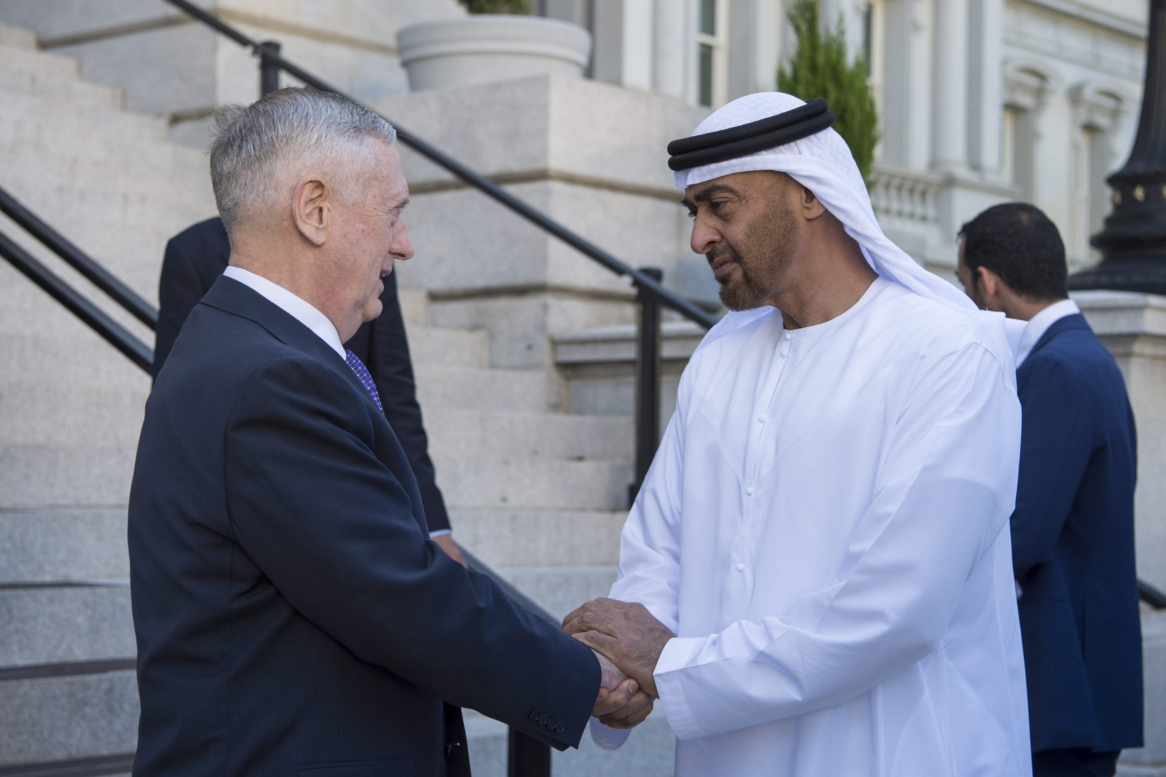 Defense Secretary Jim Mattis meets with Crown Prince Mohammed bin Zayed al Nahyan:DoD photo by Air Force Tech. Sgt. Brigitte N. Brantley