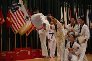 Korean Augmentation to the United States soldiers demonstrate their taekwondo skills:Army photo by Cpl. Sin Jae-Hyung