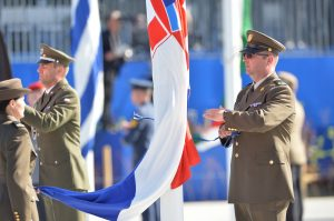 Raising of the flags at the handover ceremony for the new NATO Headquarters