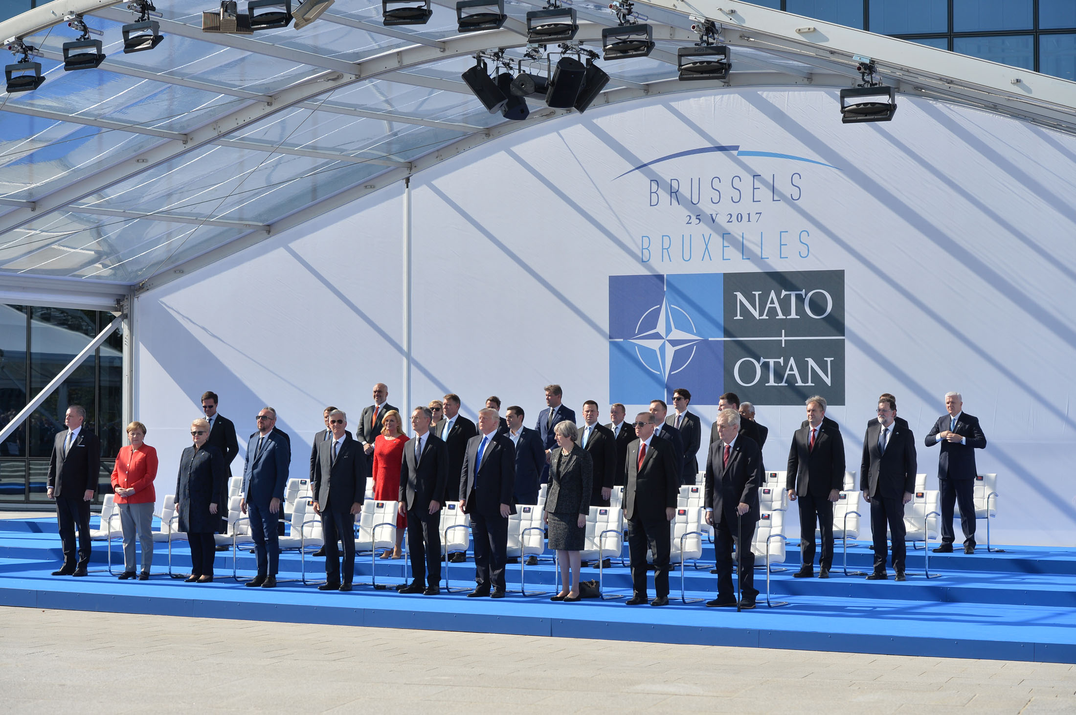 NATO Heads of State and Governement attend the handover ceremony for the new NATO Headquarters