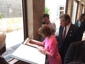 NancyPelosi & visiting US congressional delegation pay tribute to 26:11 attack victims at the Memorial at Taj Hotel:Credit- US Consulate Mumbai