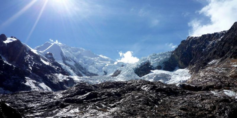 Rocks formerly covered by the glacier on Illimani mountain