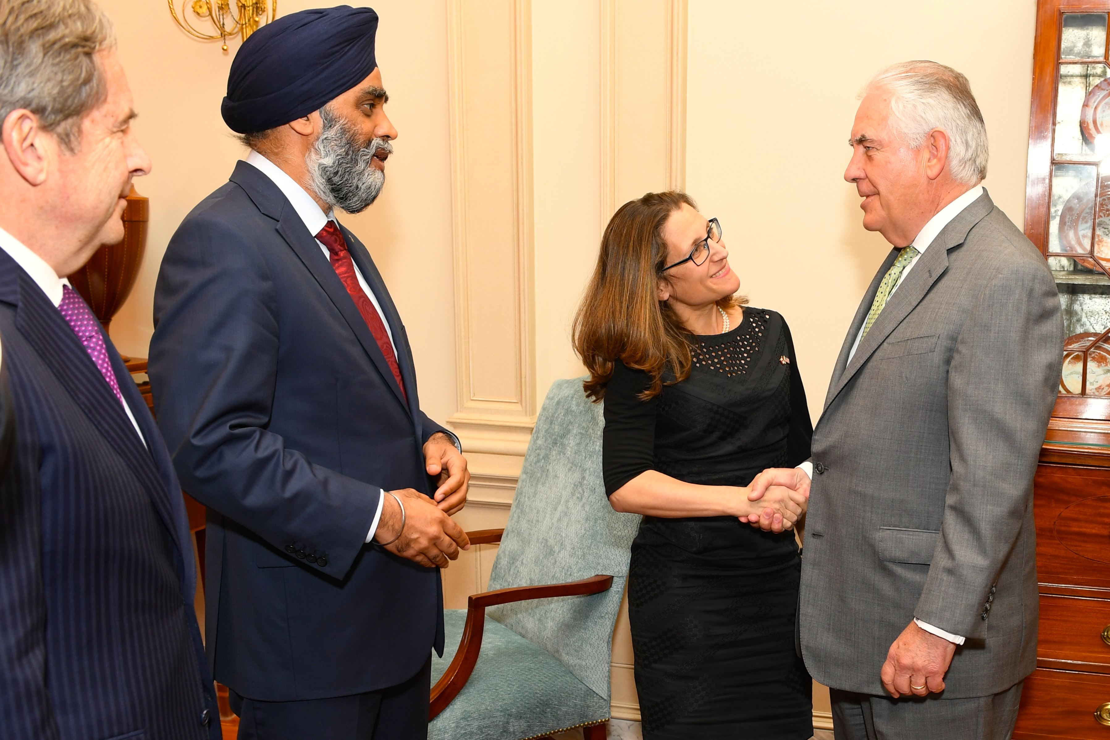 Secretary Tillerson with Canadian Foreign Minister Chrystia Freeland and Canadian Defense Minister Harjit Sajjan