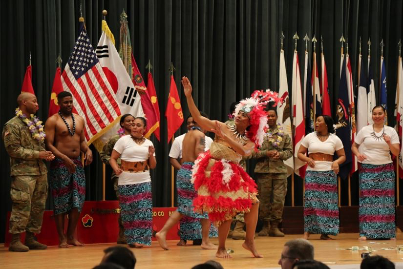 Soldiers perform a traditional Samoan dance during the Asian American and Pacific Islander Heritage Month observance at Camp Carroll in Waegwan, South Korea:Army photo by Cpl. Sin Jae-Hyung