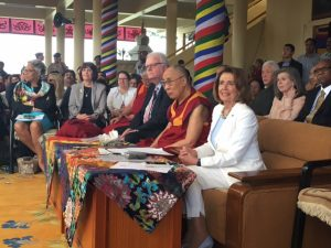 The bipartisan delegation and His Holiness the Dalai Lama at the Public Felicitation Ceremony at the Tsuglagkhang Temple:Nancy Pelosi