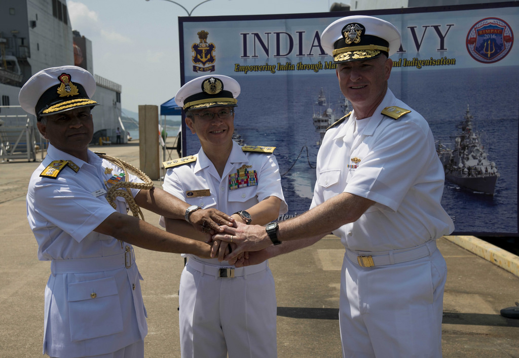 India, Japan, US Naval officers at Malabar Execrices
