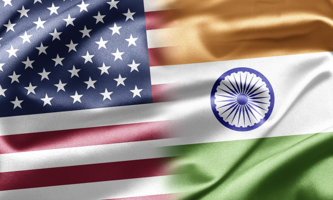 US India Flags together
