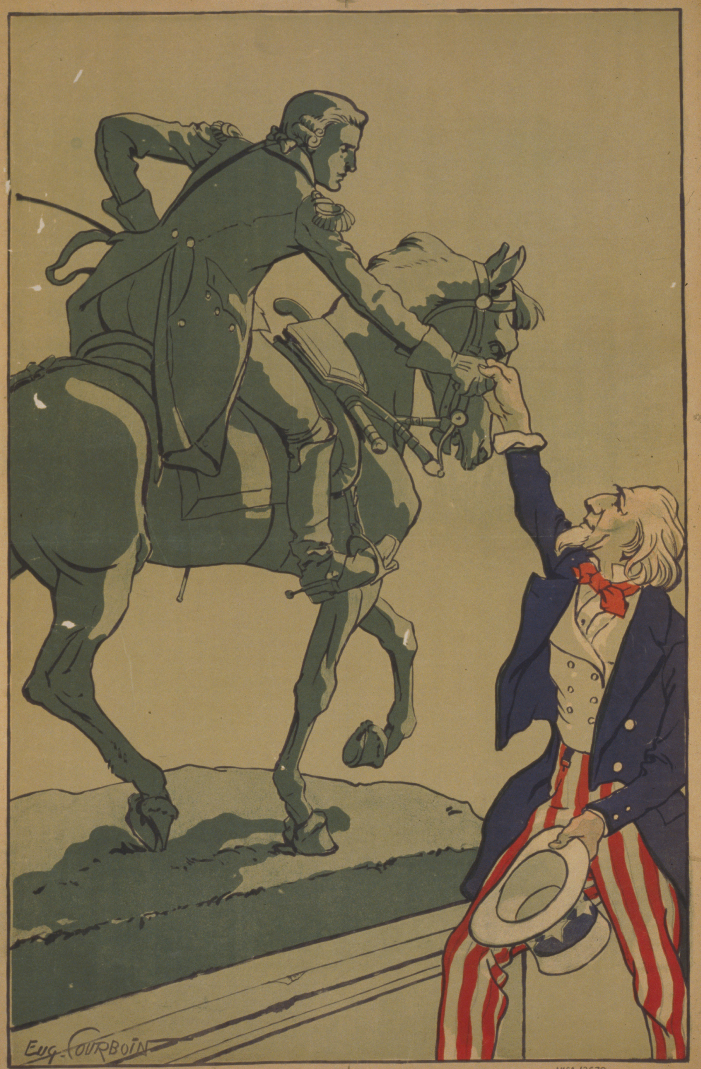Lafayette, we are here. Uncle Sam shakes hands with the Marquis de Lafayette in this 1917 French poster produced around the time the United States entered WWI. Library of Congress photo
