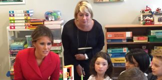 Melania Trump in the playroom at the children's hospital in Paris1