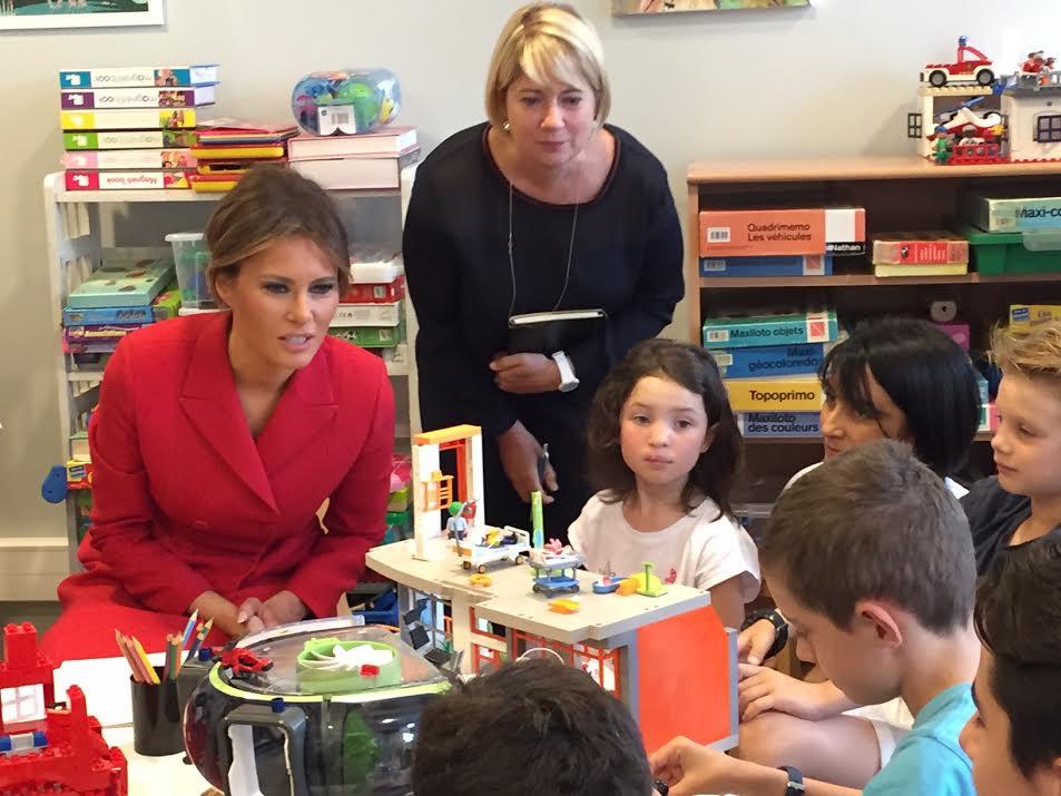 Melania Trump in the playroom at the children's hospital in Paris1