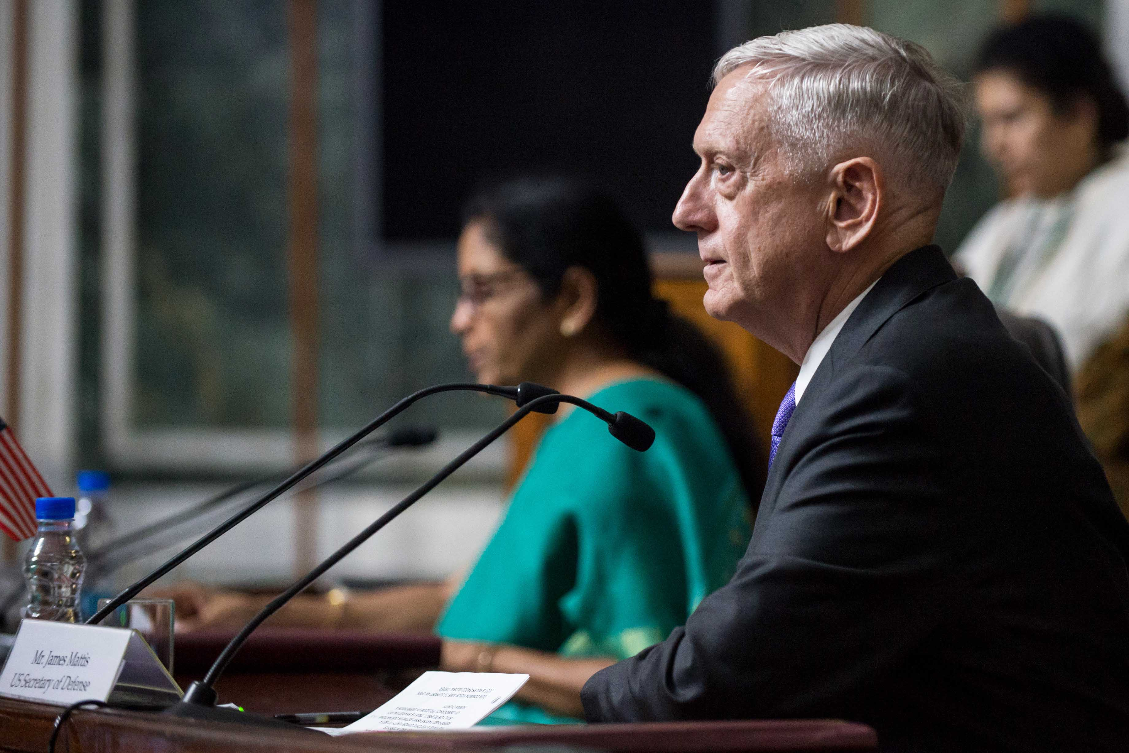 Secretary of Defense Jim Mattis and India's Defence Minister Nirmala Sitharaman address the press in New Delhi on Sept. 26, 2017. (DOD photo by U.S. Air Force Staff Sgt. Jette Carr)