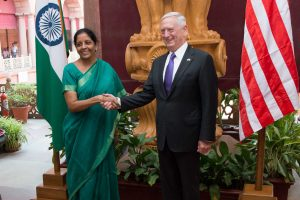 Secretary of Defense Jim Mattis meets with India's Defence Minister Nirmala Sitharaman in New Delhi on Sept. 26, 2017. (DOD photo by U.S. Air Force Staff Sgt. Jette Carr)
