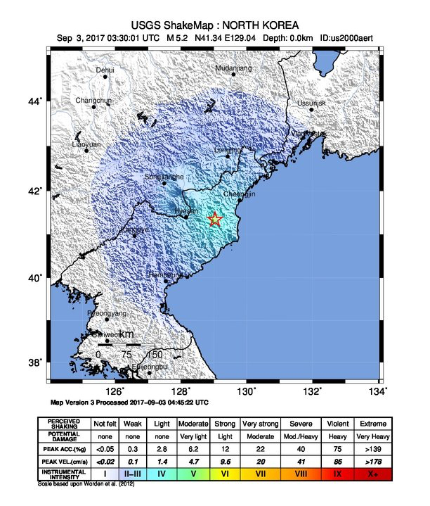 North Korea quake fromm nuclear test