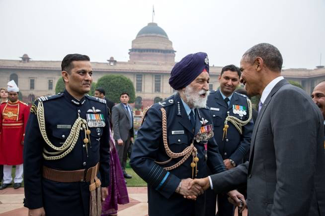 President Obama greets Arjan Singh, Marshal of the Indian Air Force, at the At Home Reception on the Central Lawn of Mughal Garden in New Delhi. (Official White House Photo by Pete Souza)