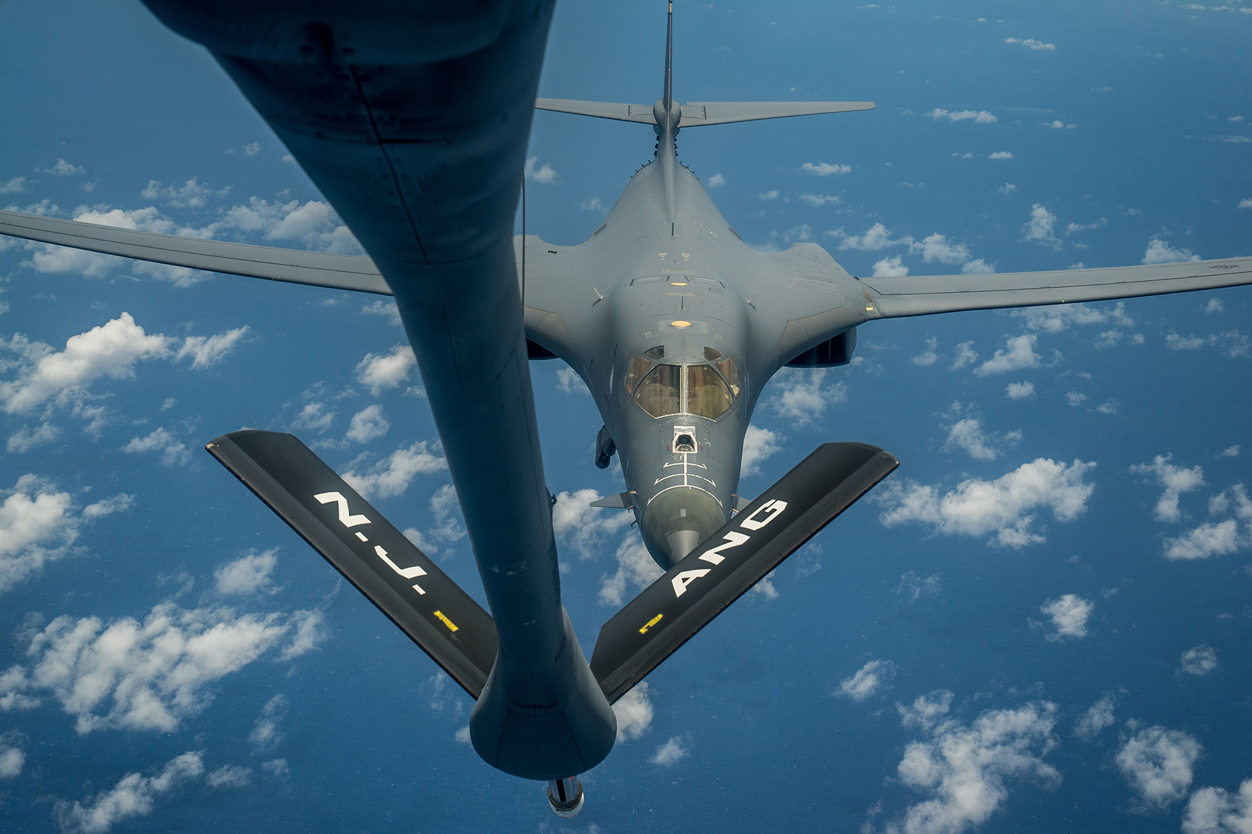 A U.S. Air Force B-1B Lancer prepares to receive fuel from a KC-135 Stratotanker during a mission from Andersen Air Force Base, Guam, into Japanese air space and over the Korean Peninsula, Aug. 31, 2017. After refueling, the B-1Bs with U.S. Marine Corps' F-35Bs, made contact with two Koku Jieitai (Japan Air Self-Defense Force) F-15J fighters over waters near Kyushu, and then were joined by four Republic of Korea F-15 fighters over the Korean Peninsula. This mission is in direct response to North Korea's intermediate range ballistic missile launch and emphasizes the combined ironclad commitment to regional allies and partners. (U.S. Air Force photo/Staff Sgt. Joshua Smoot)