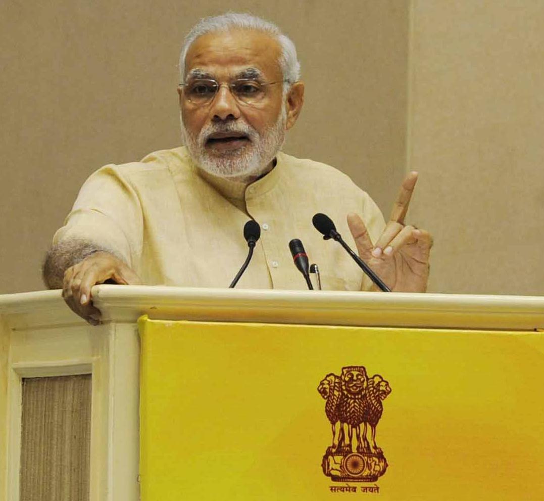 Modi on a podium
