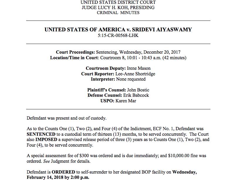 Sridevi Aiyaswamy Fraud Case Final