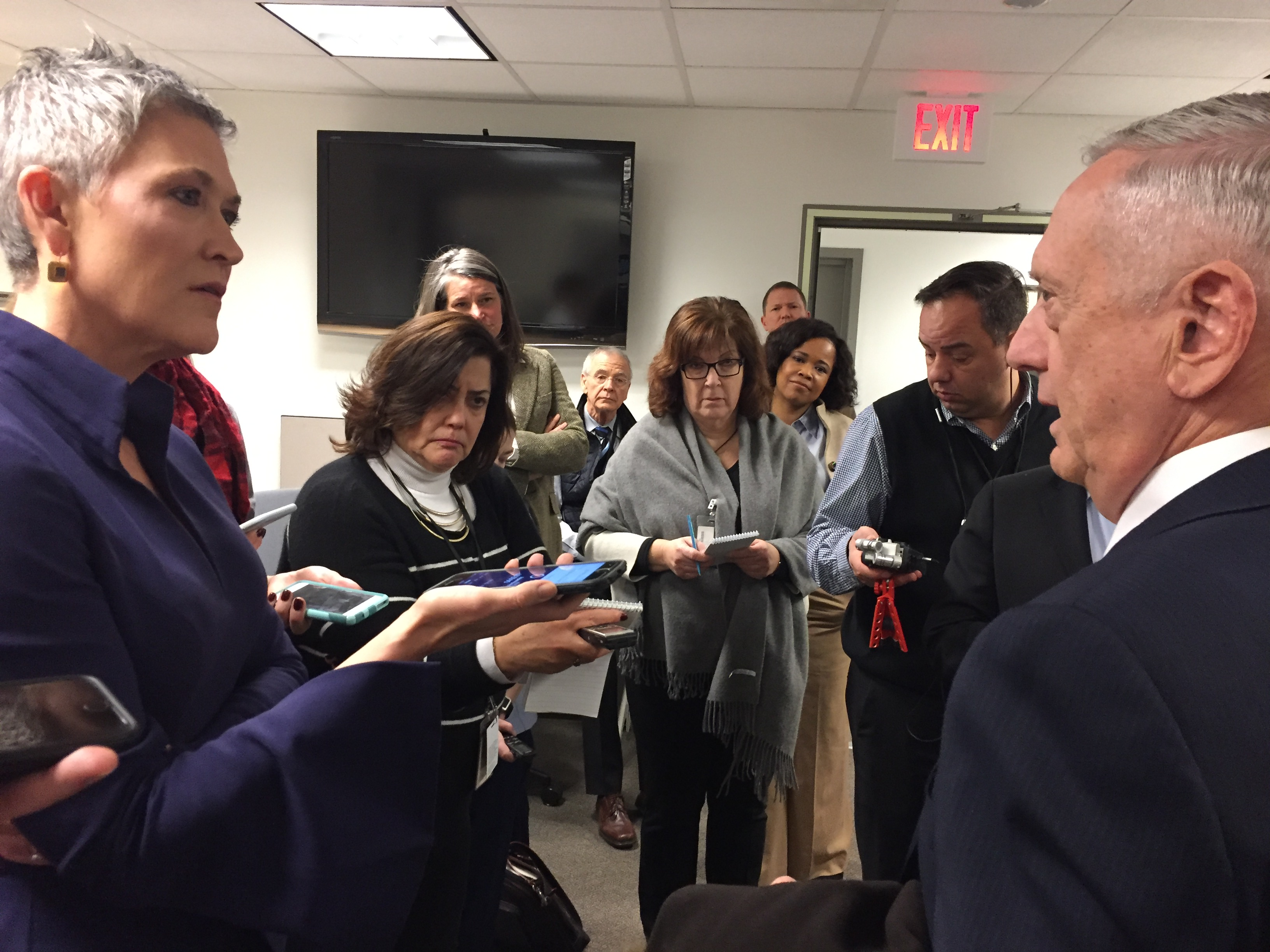 Defense Secretary James N. Mattis speaks with reporters at the Pentagon during an impromptu visit to the press area, Jan. 4, 2018. DoD photo by Jim Garamone