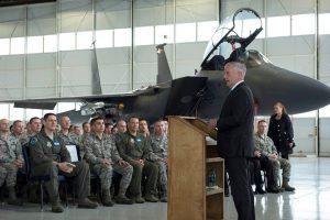 Mattis addressing Town Hall at Air Base Idaho