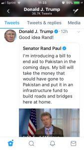 Trump tweet endorsing Rand Paul tweet