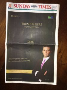 Trump Jr Front page ad in India