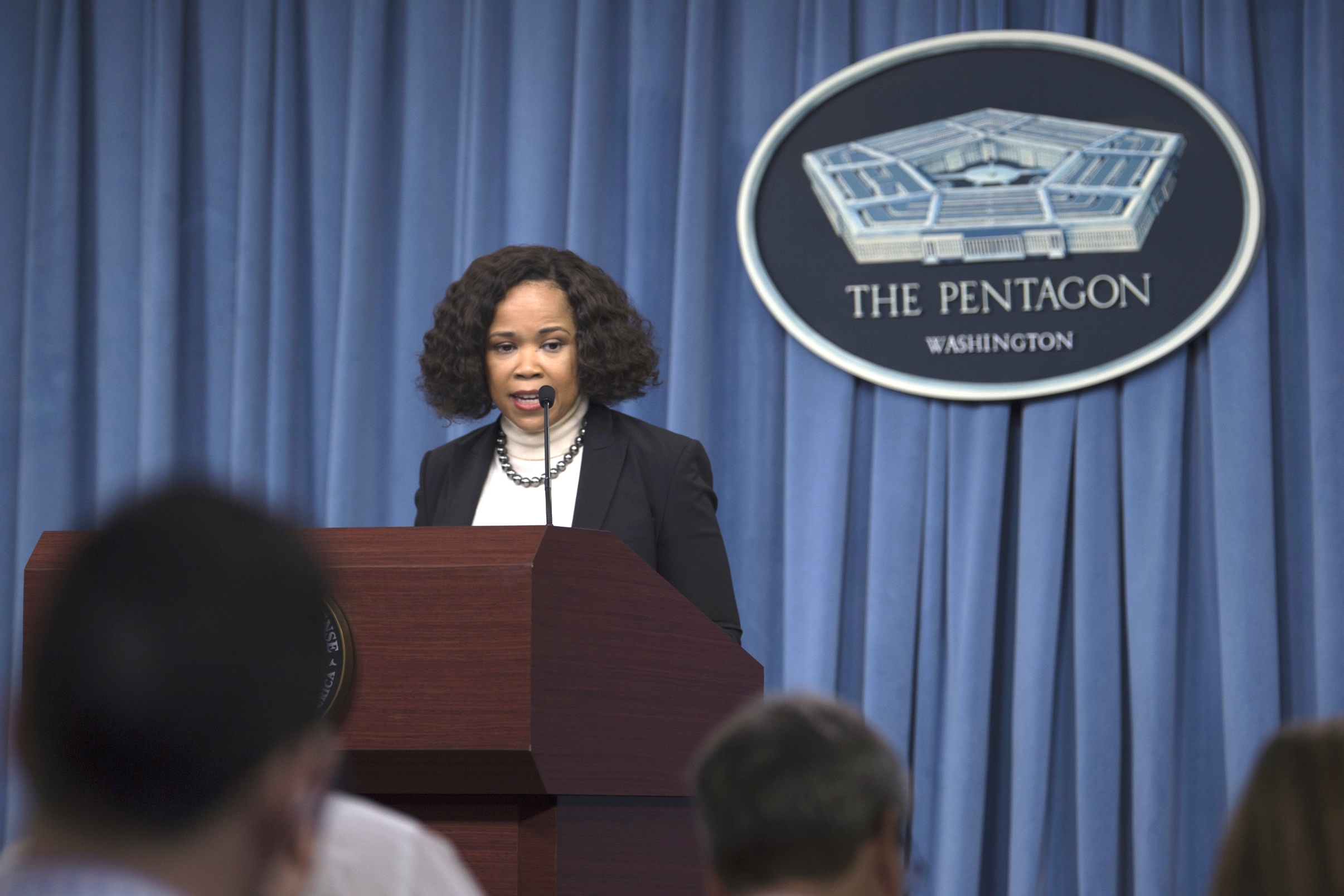 Dana White, the assistant to the secretary of defense for public affairs, briefs the press at the Pentagon in Washington, D.C., March 29, 2018. (DoD photo by Navy Mass Communication Specialist 1st Class Kathryn E. Holm)