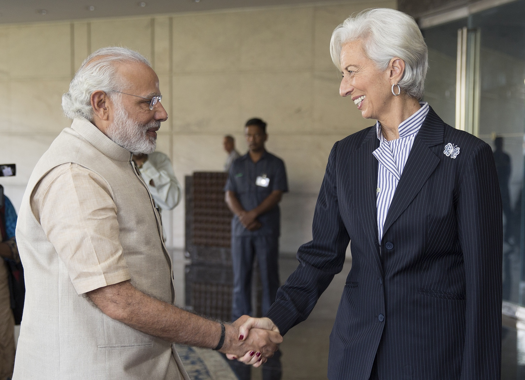 IMF MD Christine Lagarde with Indian PM Modi