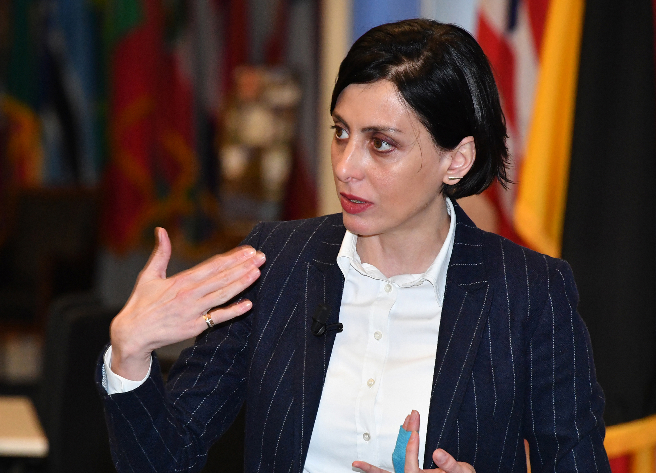 GARMISCH-PARTENKIRCHEN, Germany (April 17, 2018) – Khatia Dekanoidze, adjunct professor of the Program on Countering Transnational Organized Crime at the George C. Marshall European Center for Security Studies, talks about anticorruption reforms and state building to 92 participants from 52 countries attending CTOC at the Marshall Center April 17. Dekanoidze served as the first female chief of the Ukrainian National Police, where she commanded more than 100,000 officers until November 2016. (Marshall Center photo by Karl-Heinz Wedhorn)