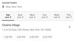 Yadvi showtimes NYC 1