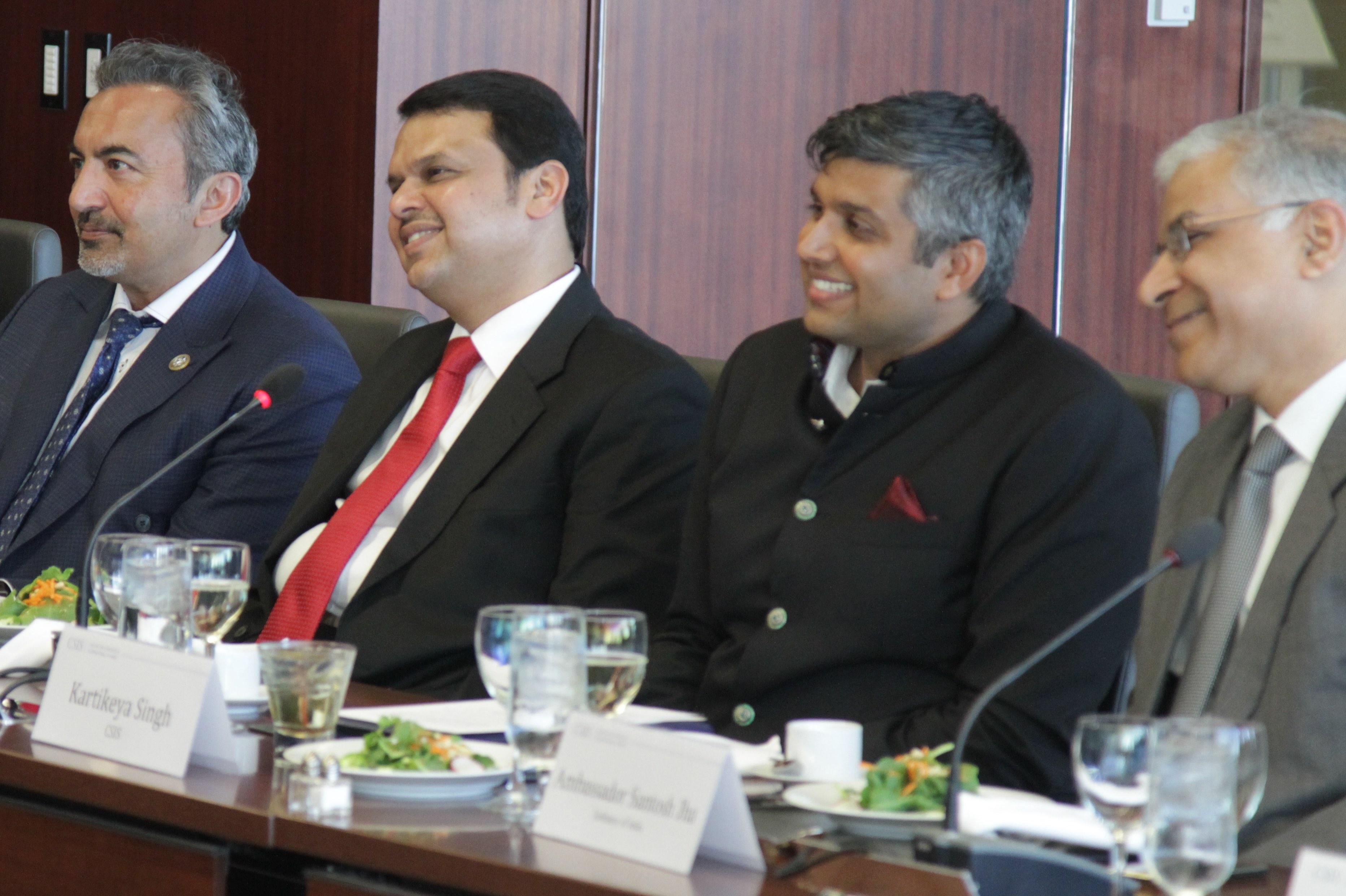Maharastra CM with Bera, Karitkay CSIS, Jha of Embassy