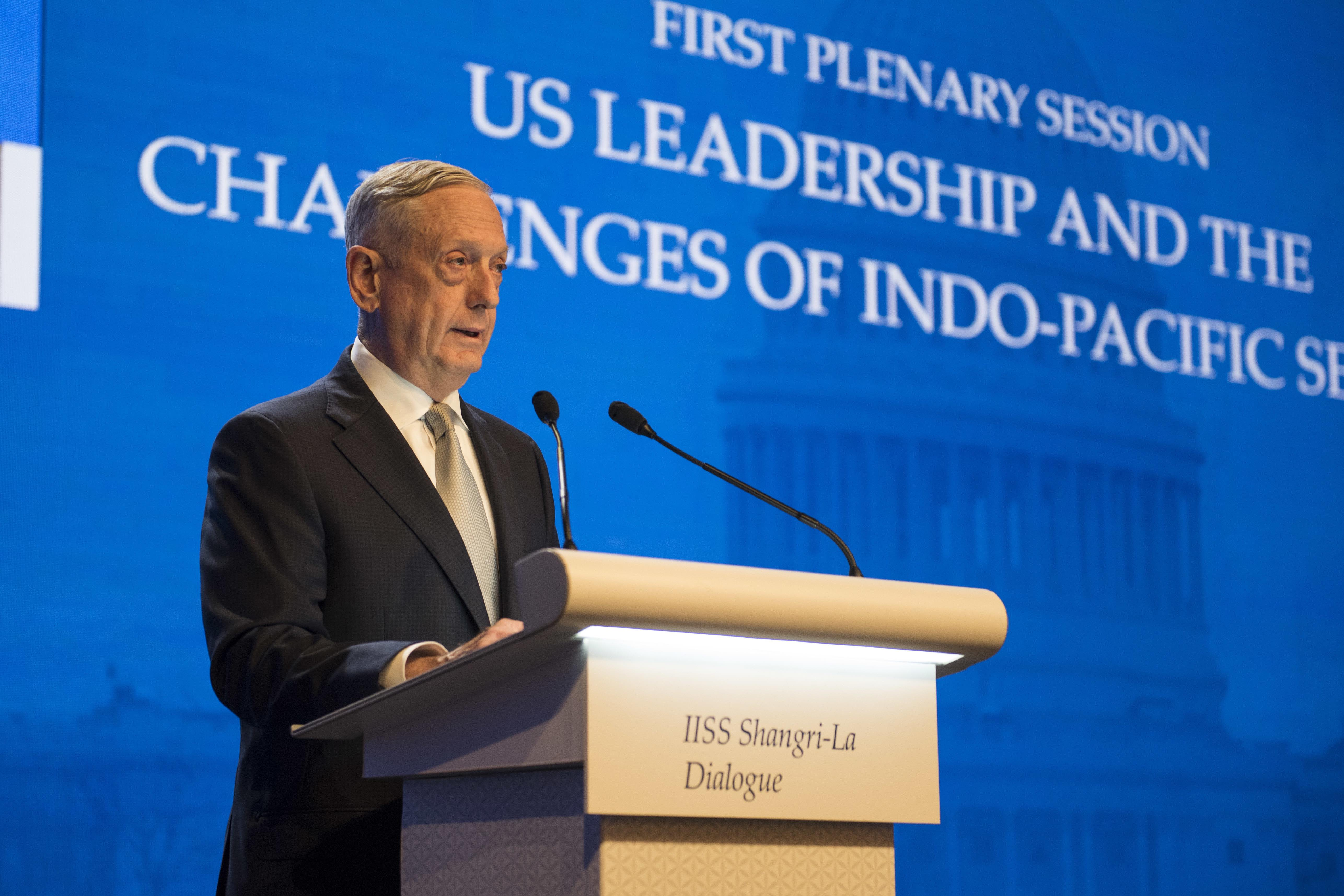 180602-N-OU129-267 SINGAPORE (June 1, 2018) Secretary of Defense Jim Mattis delivers remarks during the first plenary session of the Shangri-La Dialogue 2018 June 2. The Shangri-La Dialogue, held annually by the independent think tank, the International Institute for Strategic Studies (IISS), is an inter-governmental security forum which is attended by defense ministers and delegates from more than 50 nations. (U.S. Navy photo by Mass Communication Specialist 2nd Class Joshua Fulton/Released)