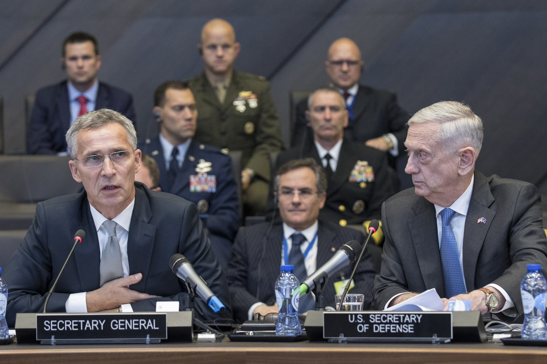 Remarks by NATO Secretary General Jens Stoltenberg Right: Jim Mattis (US Secretary of Defense)