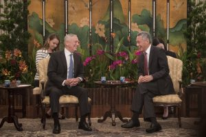 Secretary of Defense James N. Mattis meets with Singapore Prime Minister Lee Hsien Loong at the Istana in Shangri-La, Singapore, June 1, 2018. The two met to discuss the partnership between the U.S. and Singapore during the 2018 Shangri-La Dialogue. (DoD Photo by Tech Sgt. Vernon Young Jr.)